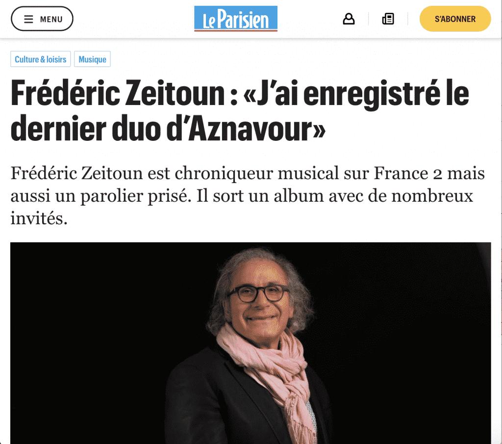 Dernier duo Aznavour Fred Zeitoun